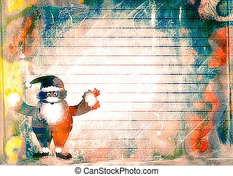 Watercolour Christmas Santa Paper