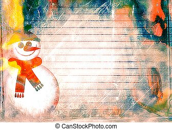 Watercolour Christmas Snowman Paper