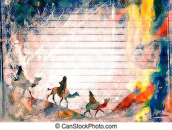 Watercolour Christmas Wise Men Paper