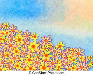 Watercolour Floral Border Decoration