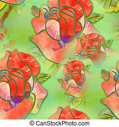 Watercolour Floral Rose Pattern