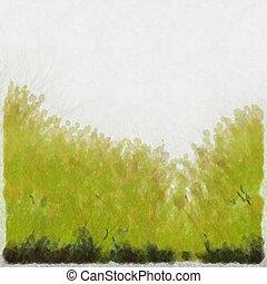 Watercolour Green Grass Background