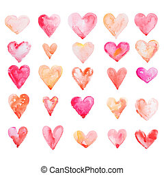 Watercolour heart isolated on white background - Watercolor...