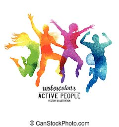Watercolour Jumping People Vector. A group of freinds...