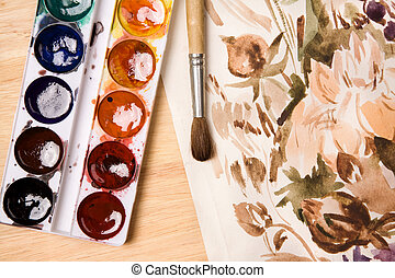 watercolour - made from my personal art-work, focus point on...