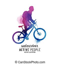 Watercolour Man Riding A Bike. A cyclist keeping fit. Vector...