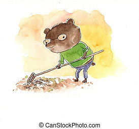 watercolour of a Little bear picking up leaves
