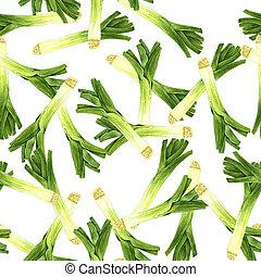 Watercolour original leeks chaos pattern