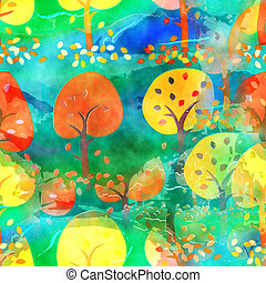 watercolour, outono, árvore, fundo