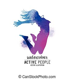 watercolour, pular, mulheres, vetorial