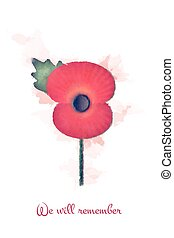 Watercolour remembrance poppy