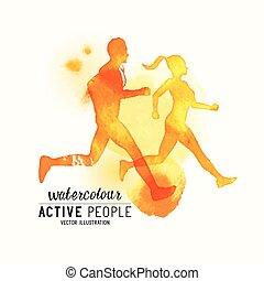 Watercolour running People Vector