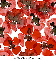 Watercolour seamless pattern with red poppy
