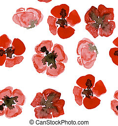 Watercolour seamless pattern with red small poppy