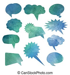 Watercolour speech bubbles - Collection of speech bubbles...