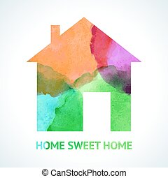 Watercolour sweet home icon on white background. Vector...
