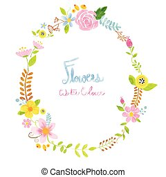 watercolour wreath floral elements