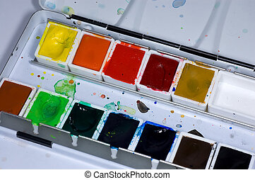 View into a used watercolours palette