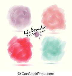 watercoluor, elementos, aquarela, vetorial, círculo, macio, texture., design.