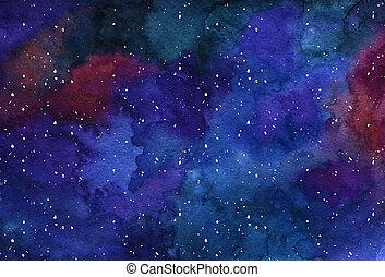 watercor, bakgrund, utrymme, nebulosa, natt, stjärna, sky, för, poster, baner, nät formge