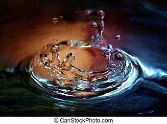 waterdaling, gespetter, kleurrijke
