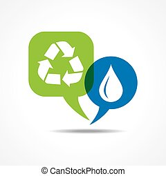 Waterdrop and recycle icon
