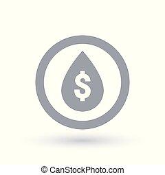 Waterdrop with dollar sign. Water price symbol.