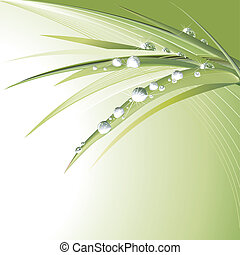 Waterdrops On Green Leaves, editable vector illustration