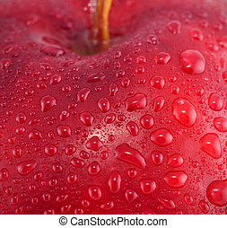 waterdruppels, appel, rood