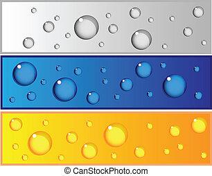 waterdruppels, banieren, set, kleurrijke