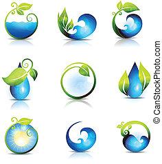 waterdruppels, golven