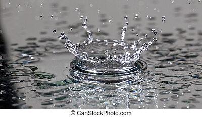 waterdruppeltje, botsing, macro