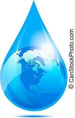 waterdruppeltje, druppel, wereld