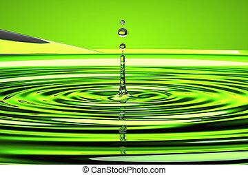 waterdruppeltje, op, groene, golven