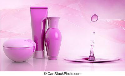 waterdruppeltje, set, producten, schoonheidsmiddel
