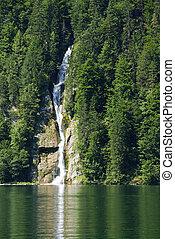 Waterfal into the lake