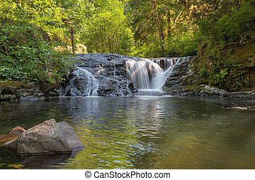 Waterfall along Sweet Creek in Oregon Closeup