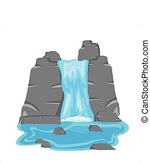 Waterfall amongst stone - Vector illustration of the...