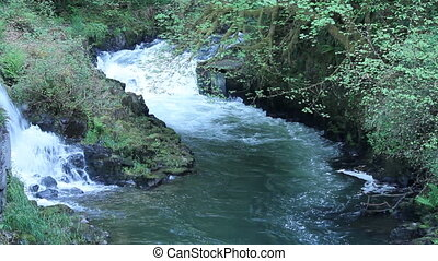 Waterfall and River Rapidly Flowing - Water falling down a...