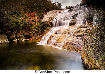 waterfall and swimming hole in fall color forest