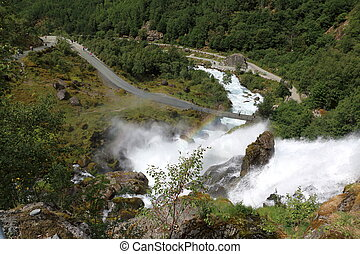 Waterfall at briksdalsbreen in Norway