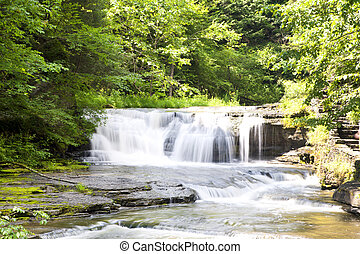 Waterfall in summer time located at Robert H. Treman State Park, Finger Lakes, Ithaca New York, USA.