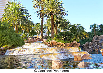 Waterfall at the  hotel  in Las Vegas