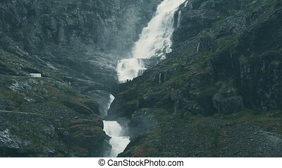 Waterfall At The Trollstigen, Norway - Graded and stabilized...