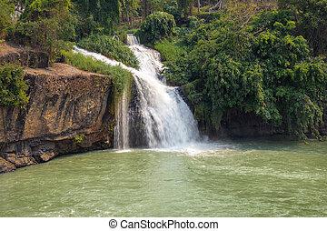 waterfall at the Vietnamese lake