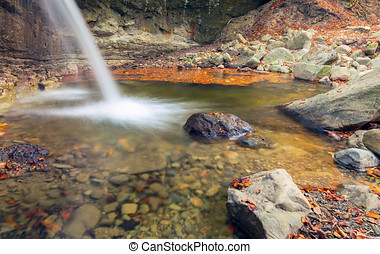 waterfall., autumn., forest., water., megkövez
