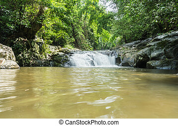 Waterfall beautiful  in kanchanaburi province asia southeast asia Thailand