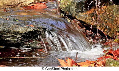 Waterfall - Beautiful veil cascading waterfall, mossy rocks
