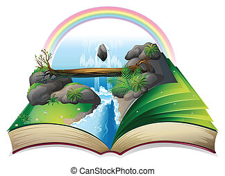 Waterfall book - Illustration of a popup waterfall book