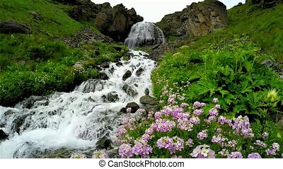 "Waterfall called ""girlish braids"" rapid flowing stream on..."